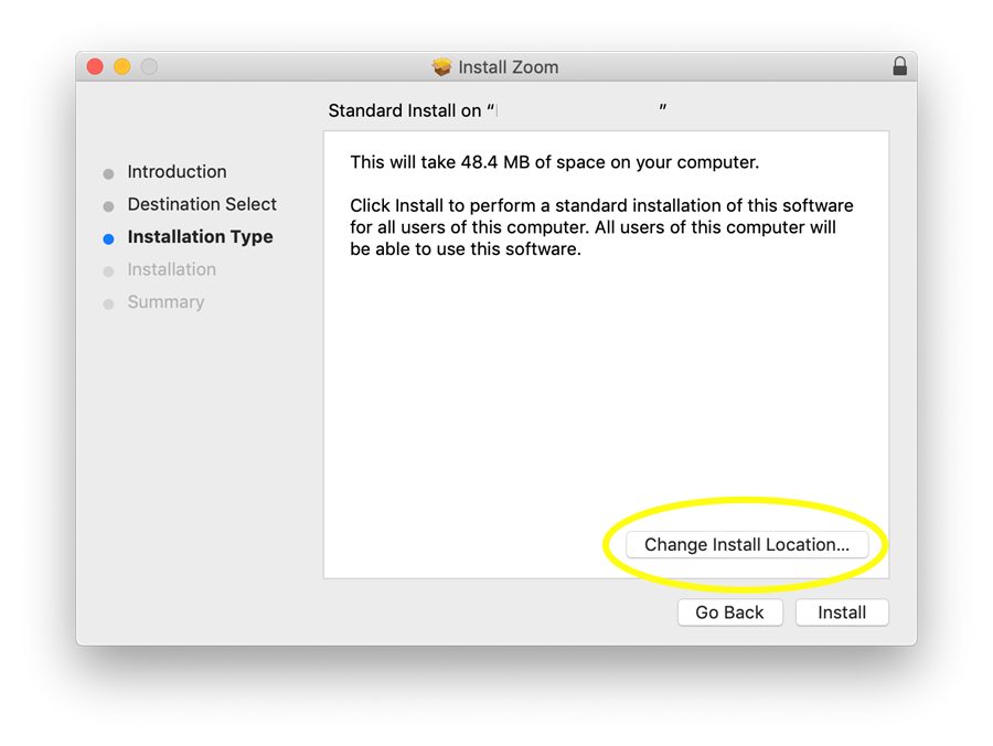 Zoom install: change location