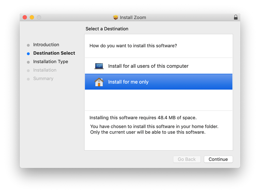 Zoom install: For me only